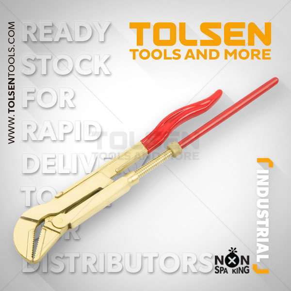 NON SPARKING 45° BENT NOSE PIPE WRENCH